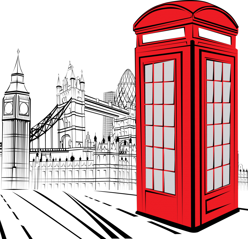 Red phone box on black & white London background